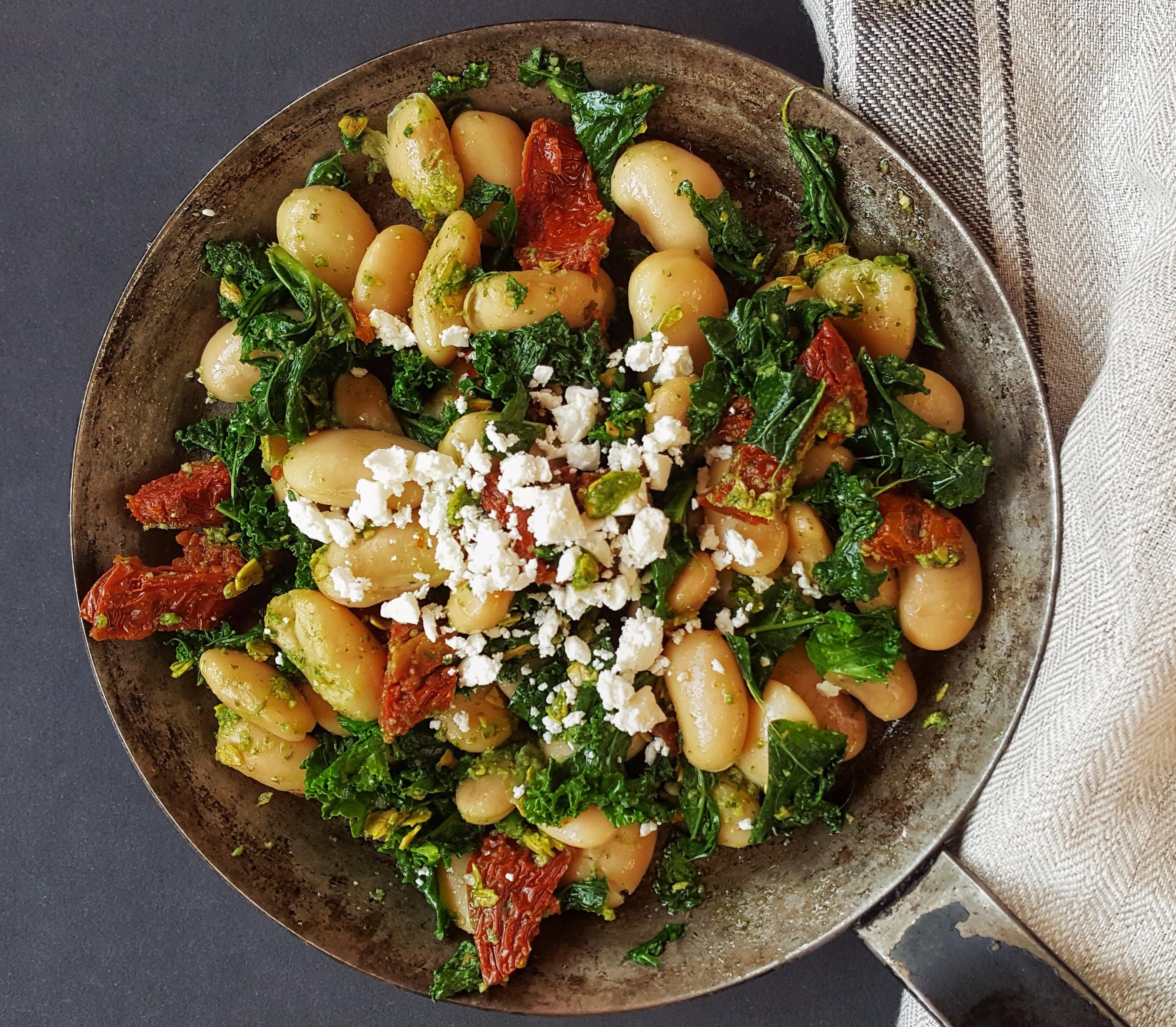 Pesto Beans with Kale, Sundried Tomatoes & Feta, Delalicious