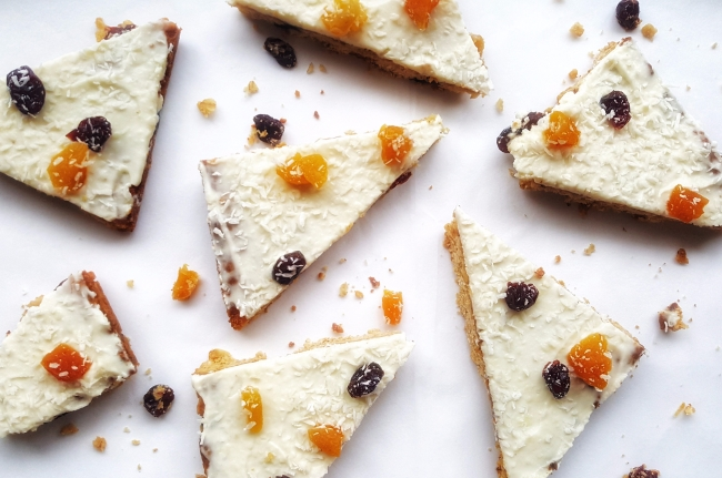White Chocolate, Cranberry & Apricot Oat Slice; Delalicious