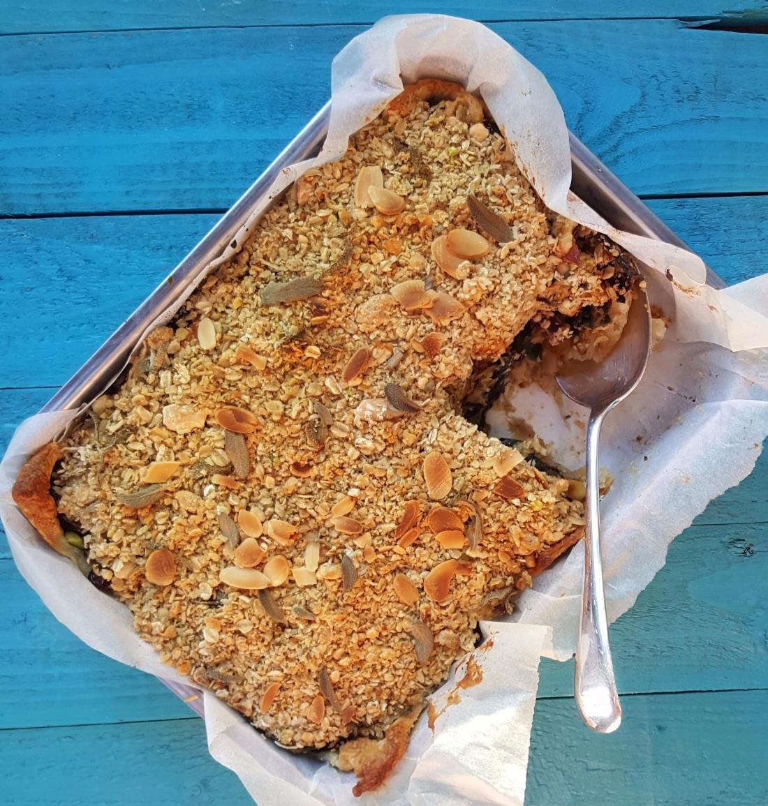 Sweet Potato & Aubergine Crumble Pie; Delalicious