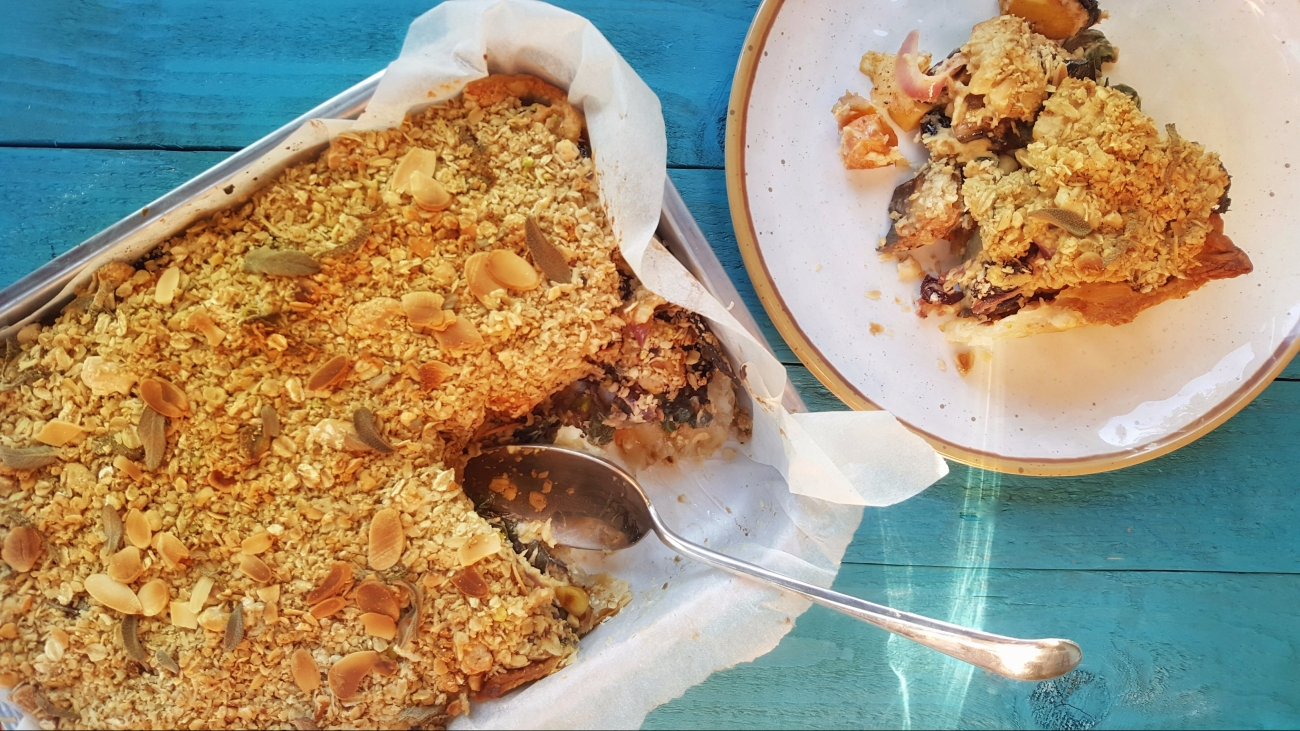Sweet Potato & Aubergine Crumble Pie; Delalicious