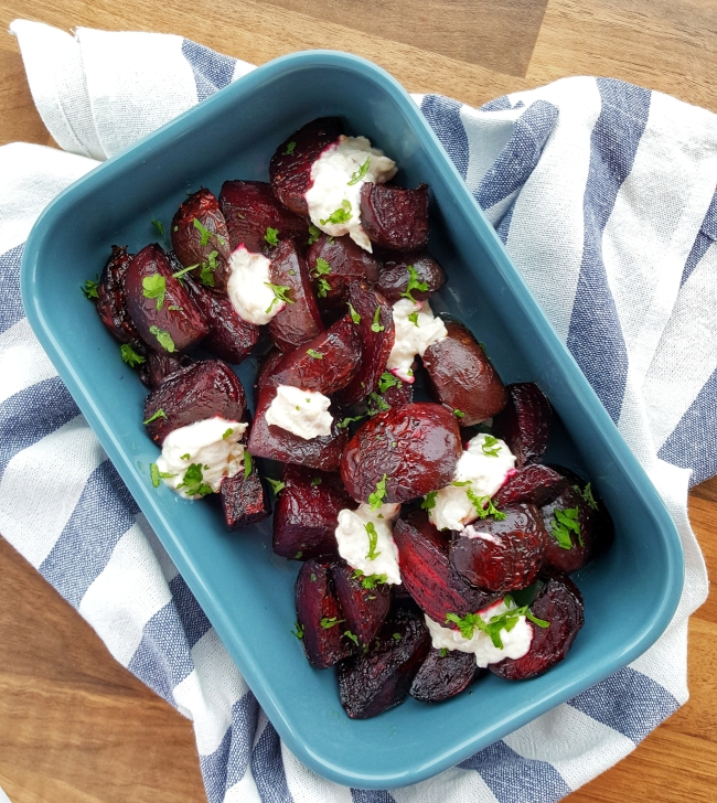 Roast Beetroot Wedges Garlic Dip; Delalicious